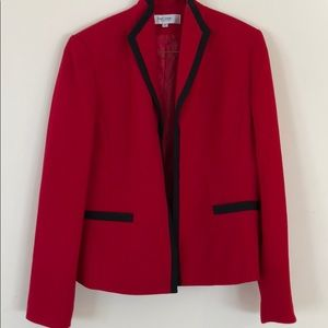 Red suit jacket with black trim